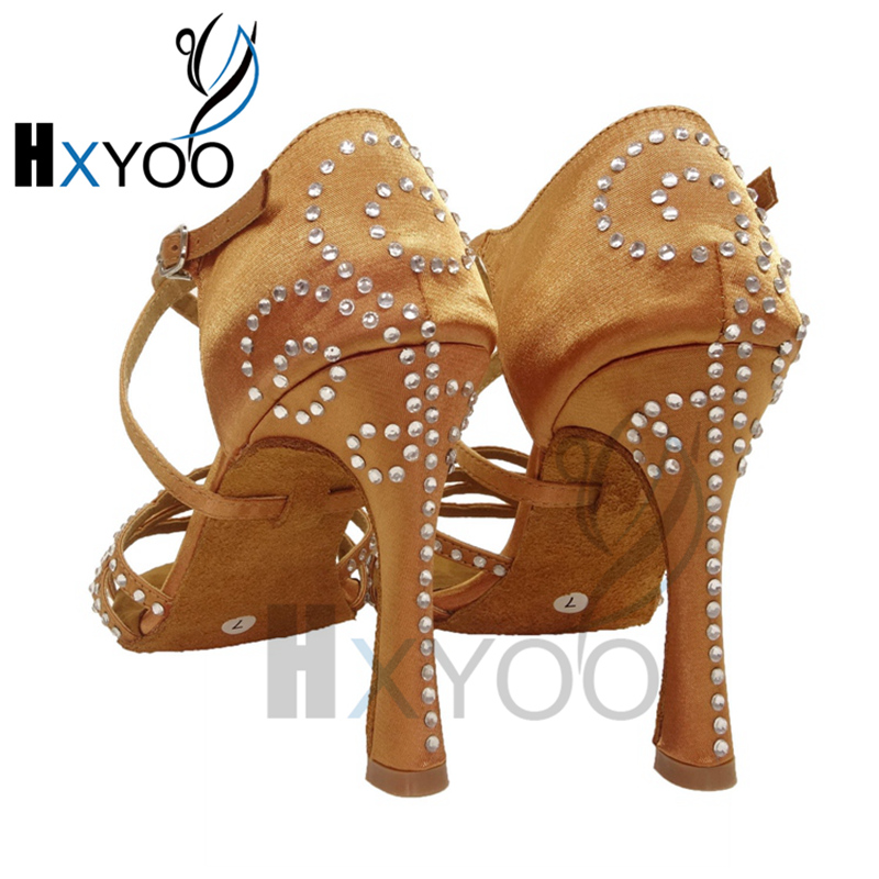 HXYOO Sexy Latin Dance Shoes Women Black Brown Customize Color Heels Diamond zapatos de baile latino mujer WK020