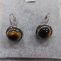 New Simple Jewelry 18mm Natural Brown Tiger Eye Stone Charm Golden Black Rhinestone On Silver Color