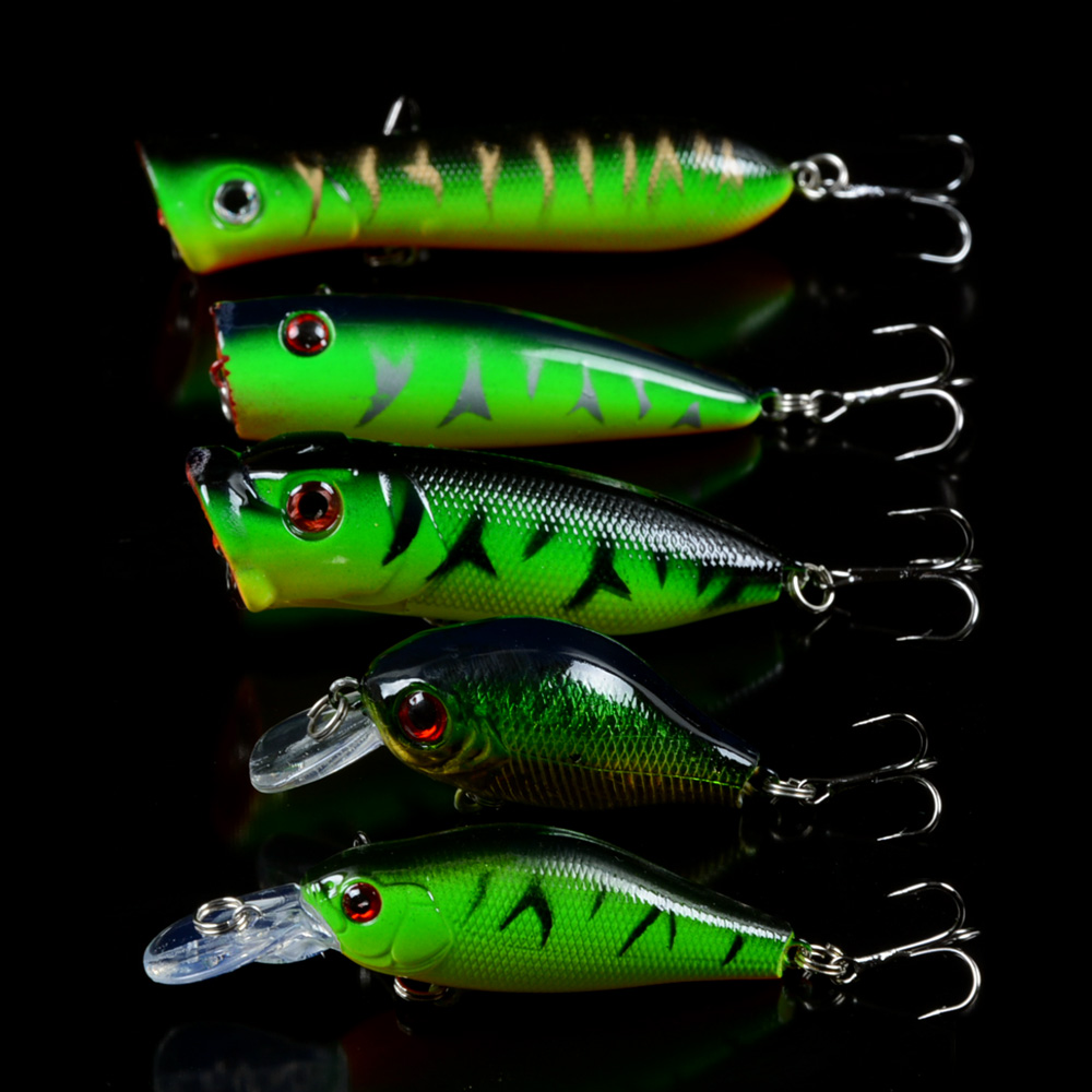5pcs/Set Mixed 5 Models Fishing Lures Artificial Make Lifelike Bass CrankBait Bait Mix Minnow/Crank Lure ang Popper Tackle wldslure 1pc 54g minnow sea fishing crankbait bass hard bait tuna lures wobbler trolling lure treble hook