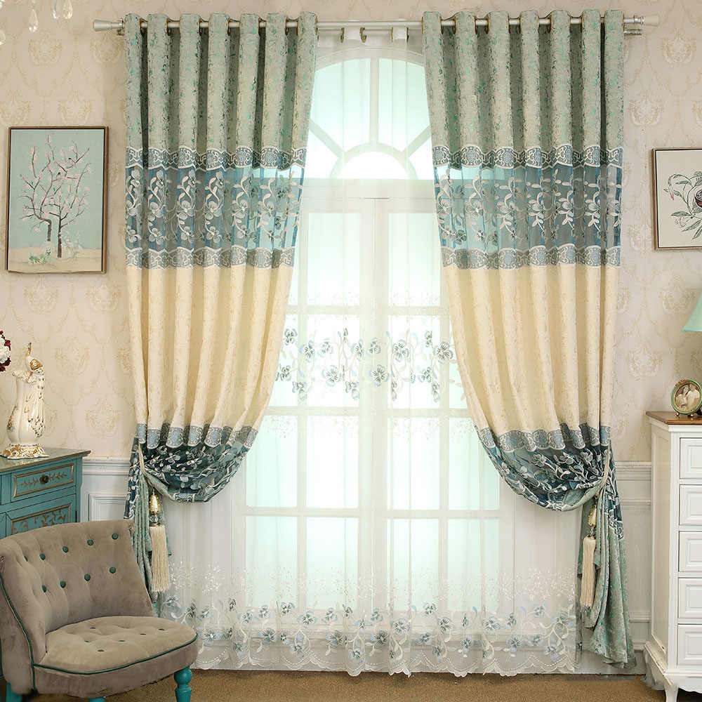European Luxury Embroidered Hollow Curtain for Living Room Stitching Tule Cloth Curtains for Bedroom Jealous Curtains M006-40