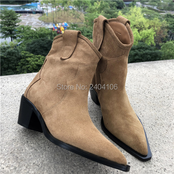 High Quality Suede Brown Pointed Toe Short Booties Woman Stacked Cuban Heel Vintage Shoes Slip On Western Cowboy Boots For Women