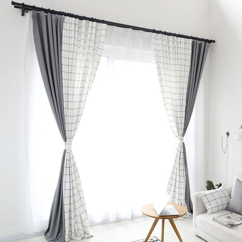 Europäischen Plaid Fenster Vorhang für Wohnzimmer Weiß Grau Spleißen Moderne Vorhang 75 85% Schattierung Blackout Vorhang für Schlafzimmer-in Vorhänge aus Heim und Garten bei  Gruppe 1