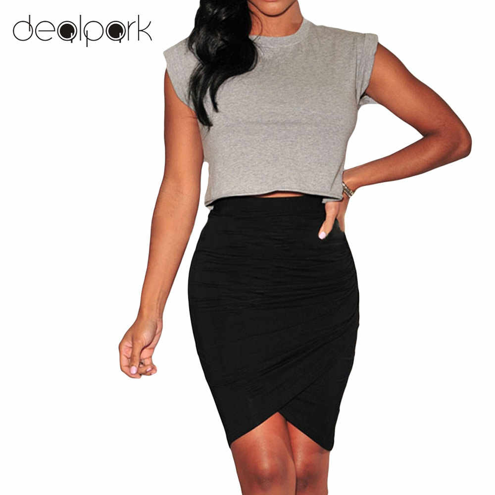 21144f2abd 2019 Summer Elegant Lady Office Wear OL Skirts Women Pencil Short  Asymmetric Mini Skirt female high