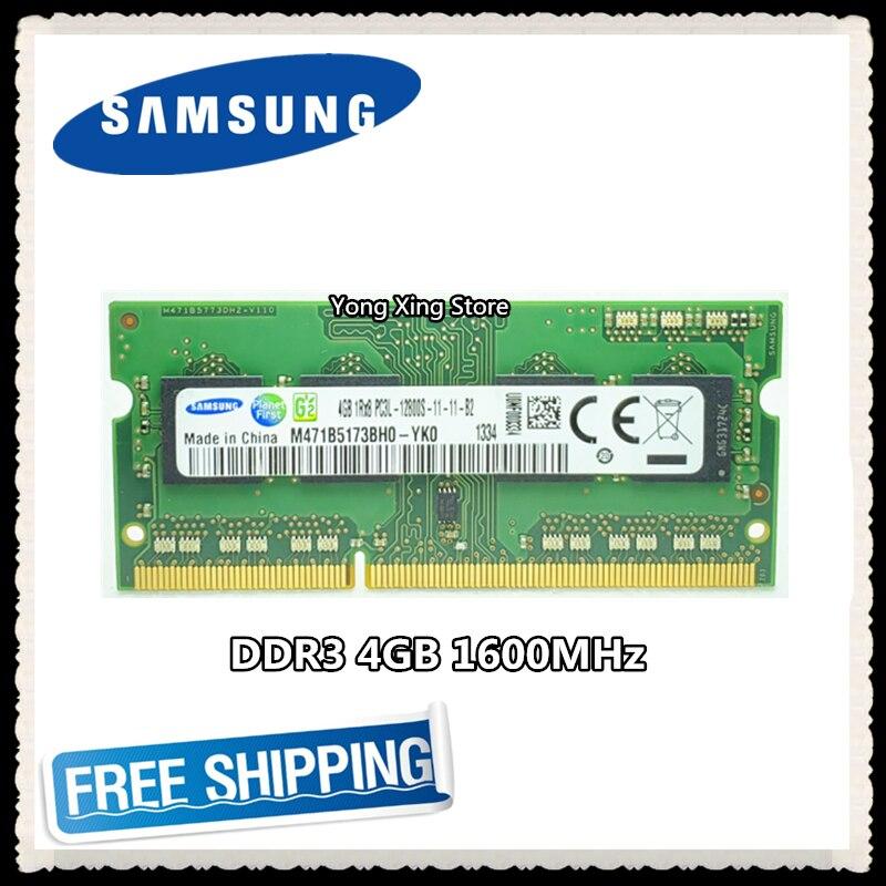 Samsung DDR3 4GB 1600MHz PC3 PC3L-12800S dizüstü bellek dizüstü bilgisayar RAM 12800 4G SODIMM