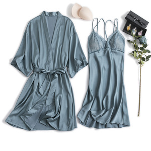 Image 4 - MECHCITIZ silk robe femme sexy gown set summer women bathrobe lingerie mini dress lounge set sleepwear bridesmaid wedding robes