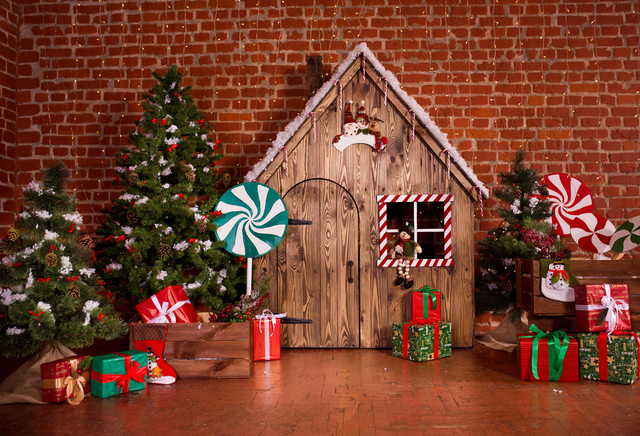 Christmas Photography Backdrop Tree Gifts Red Brick Wall Background Newborn Original Design For Photo Studio Xt 6867