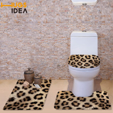 FORUDESIGNS 3 Stks / set Winter Toiletbril Covers Soft Warmer Wasbare Badkamer Wc Accessoires Set Luipaard Zebra Bont Print Matten