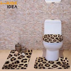 HUGSIDEA 3Pcs/set Winter Toilet Seat Covers Soft Warmer Washable Bathroom Set Leopard Zebra Fur Toilet Seat Mats