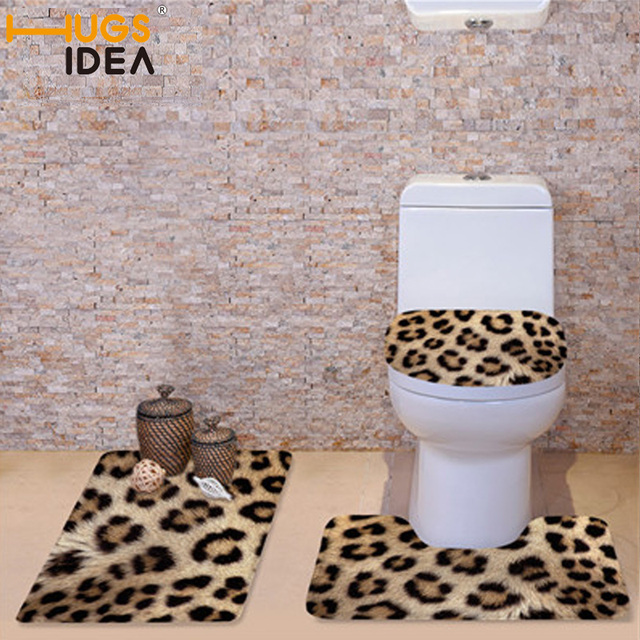 HUGSIDEA 3Pcs Set Winter Toilet Seat Covers Soft Warmer Washable Bathroom Leopard Zebra Fur