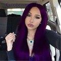 Qualidade superior brasileiro virgem reta de seda roxo cheia do laço humano perucas de cabelo para as mulheres negras sem cola peruca dianteira do laço com pentes