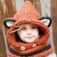 NEW Winter Children Cap Kids Scarf Baby Hats Bandana Bibs Knitted Baby Hat Animal Style Baby