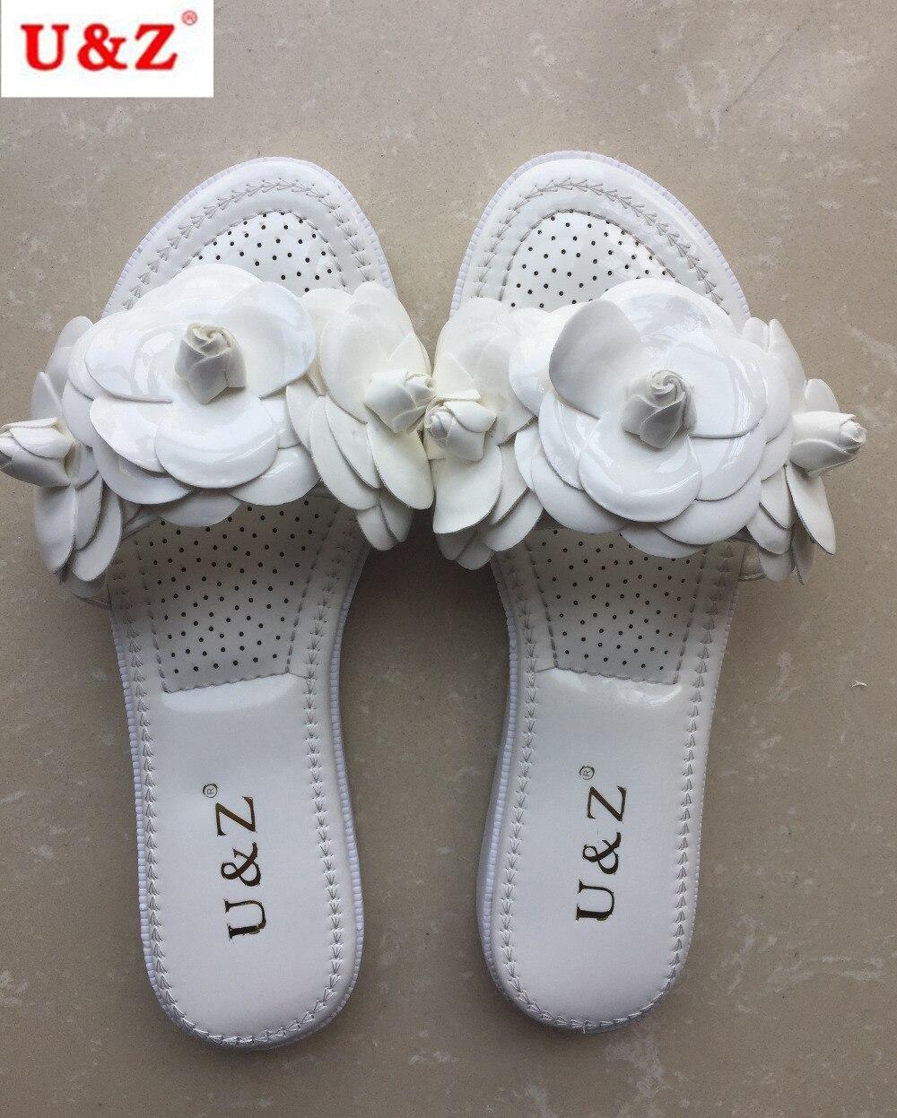 Summer 2017 Women Floral Slippers Blackwhitepinkred -3040