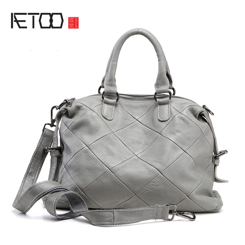 AETOO New women leather leather Europe and the United States simple bag fashion classic leather bag ladies oblique shoulder bag europe and the united states classic sheepskin checkered chain tide package leather handbags fashion casual shoulder messenger b