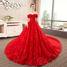 SIJANEWEDDING Red Lace Ball Gown Wedding Party Dress
