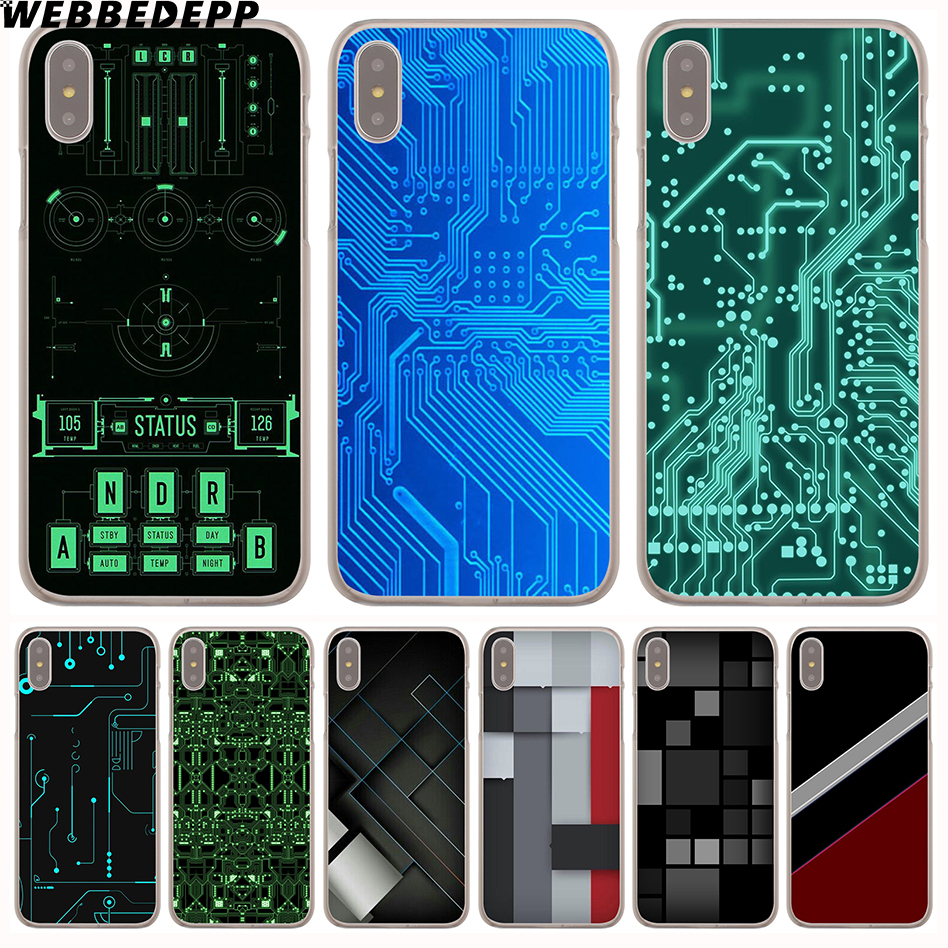WEBBEDEPP Circuit board Hard Phone Case for iPhone X XS Max XR 7 8 6S Plus 5 5S SE 5C 4 4S Cover