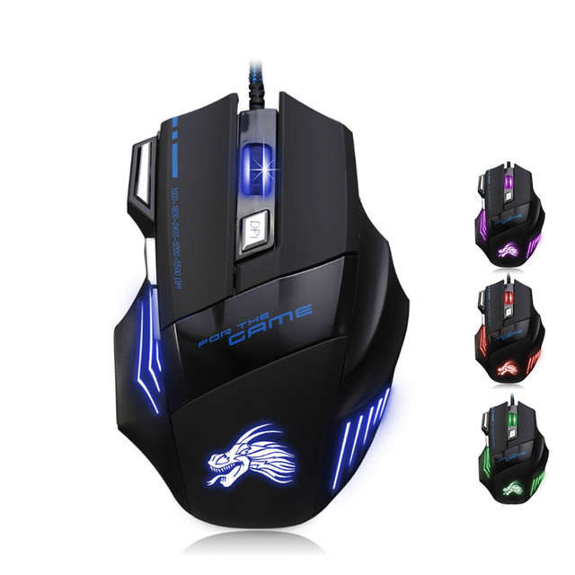 Professional Wired Gaming 7 Button 5500 DPI LED Optical USB Gamer Mouse