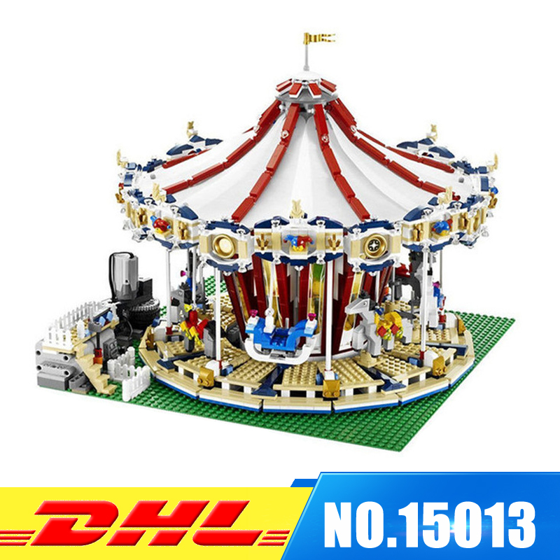 DHL More Stock 2705pcs LEPIN 15013 City Street Carousel Model Building Blocks Bricks intelligence Toys Compatible With 10196 lepin 02012 city deepwater exploration vessel 60095 building blocks policeman toys children compatible with lego gift kid sets