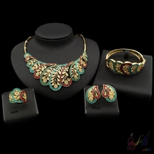 2017 Free Shipping Yulaili Fashion Top Quality Ethnic Design Pure Gold Color Dubai Jewelry Sets For Women
