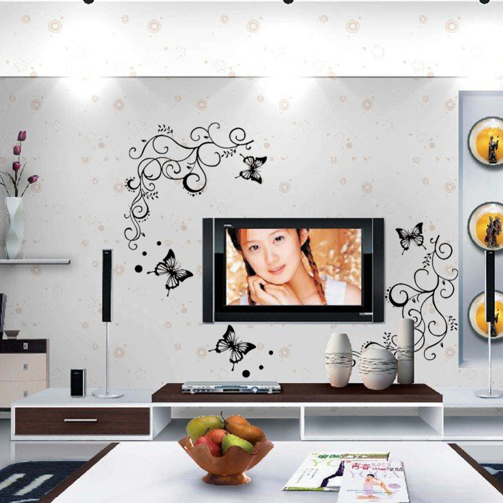 3d Calssic Black Butterfly Flower Wall Sticker Home Decor Poster Flora Butterflies Tv Wall Beautiful Decoration1