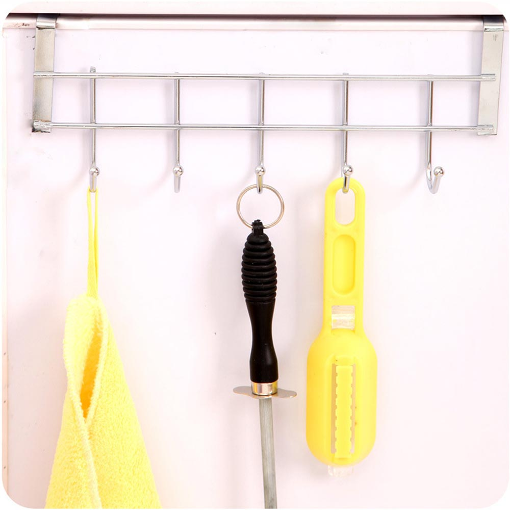 5 Hook Bold Stainless Steel Cabinet Back Hook Home Storage Supplies Doors And Windows Kitchen Towel Cleaning Cloth Hanger in Hooks Rails from Home Garden