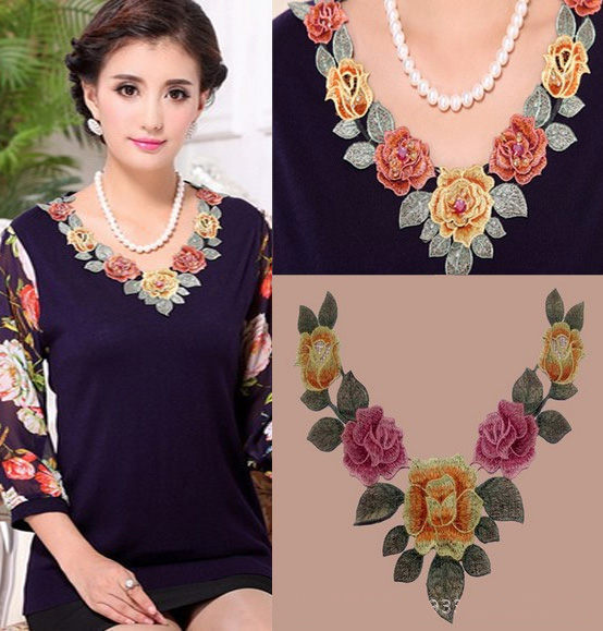 2019 New Fashion DIY Applique Embroidery Applique Costume Decoration Dimensional Colorful Neckband Lace