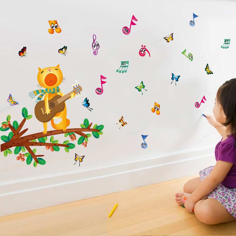 Diy Colorful Rooms: Diy Cartoon Cat Singing Wall Stickers For Kids Room Guitar