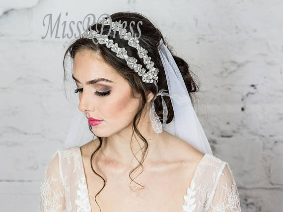 MissRDress Bridal Headwear Handmade SILVER Crystal Wedding Headband Diamond Luxurious Rhinestone Bridal Headpiece Ys808