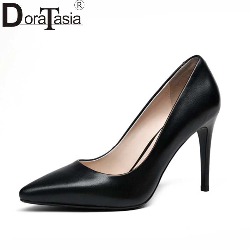 DoraTasia 2018 Women's Patent Leather High Heel Party Wedding Office Shoes Woman Pointed Toe Less Pumps Size 34-39 2017 women pointed toe patent leather office high heel shoes ladies pumps wedding party dress shoes 8 cm appliques