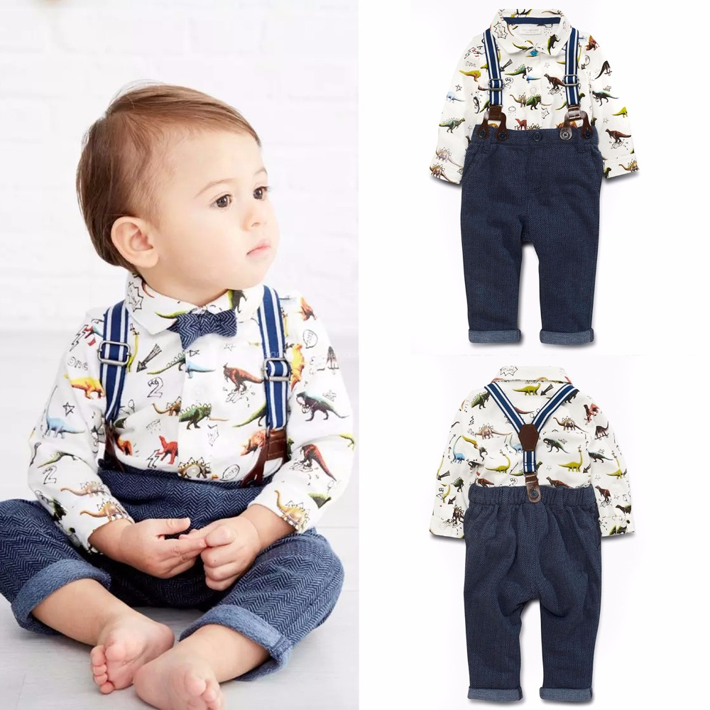 2017 New Baby Boy Spring Gentleman Printed Clothing Sets Suit Newborn Baby Dinosaur Shirt + Suspender Trousers Set Formal Party 2017 new baby boy