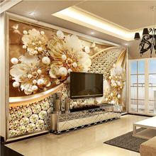 beibehang Custom Wallpaper Home Furnishings Living Room Bedroom TV Fresco Jewelery Floral Diamond Background Wall 3d wallpaper