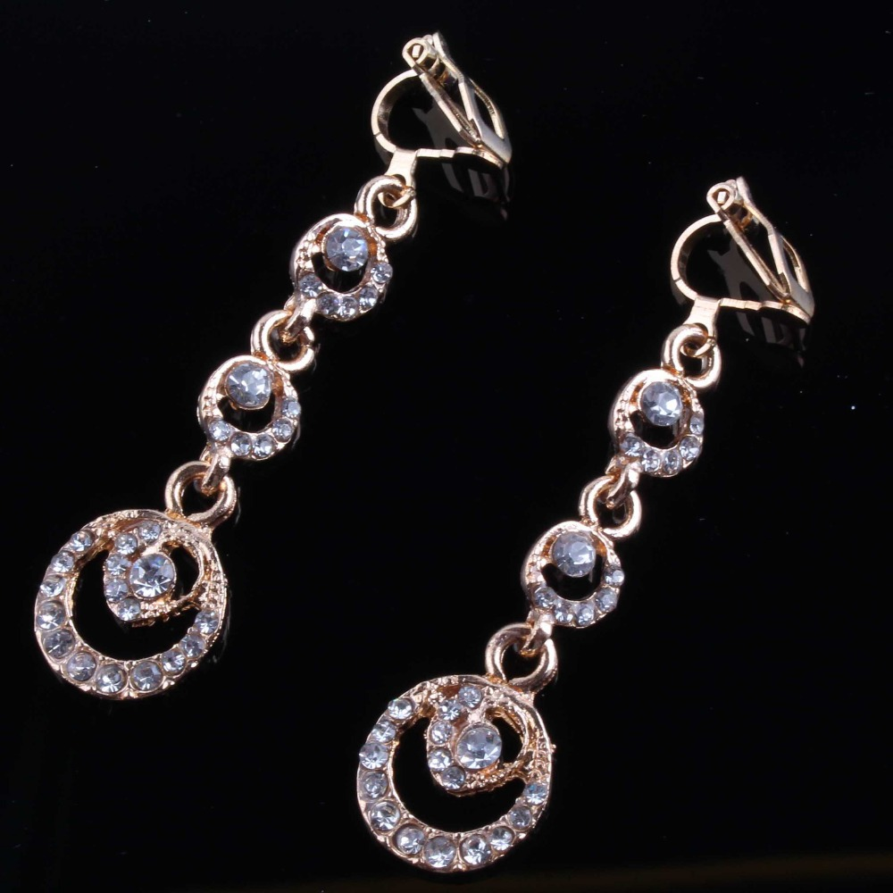 JIOFREE New Korean Charm Gold Silver Rhinestone Clip On Earrings Without Piercing For Women Party Wedding Jewelry Accessories