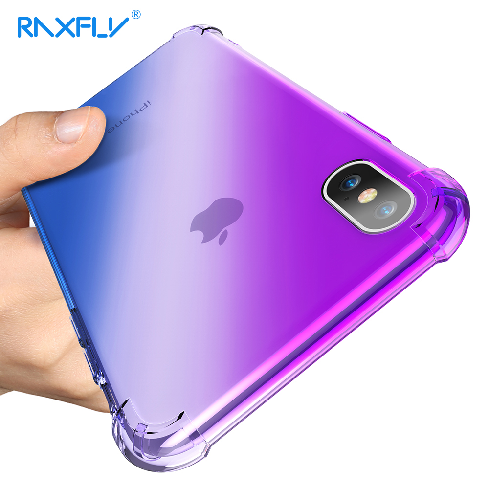 RAXFLY Shockproof Case For iPhone 7 Plus 6 6S Soft TPU Slim Cover For iPhone X 8 7 Plus Anti-knock Full Protector Coque Fundas
