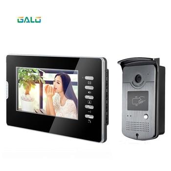 "7"" tft lcd color video door phone intercom outdoor camera and ID card Unlocking panel silver metal camera TFT LCD MONITOR"