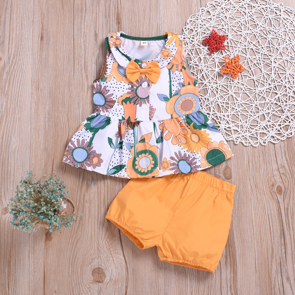 MUQGEW 2019 Summer Toddler Baby Girl Clothes Strap Ruffled Patchwork Floral Casual Vest Top Shorts Outfits Set Sunsuit 6M-3Y