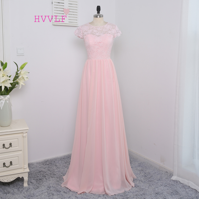 HVVLF 2019 Cheap   Bridesmaid     Dresses   Under 50 A-line Cap Sleeves Floor Length Pink Chiffon Lace Wedding Party   Dresses