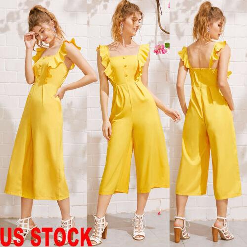 US New Fashion Womens Sleeveless Solid Ruffle Jumpsuit Romper Casual Clubwear