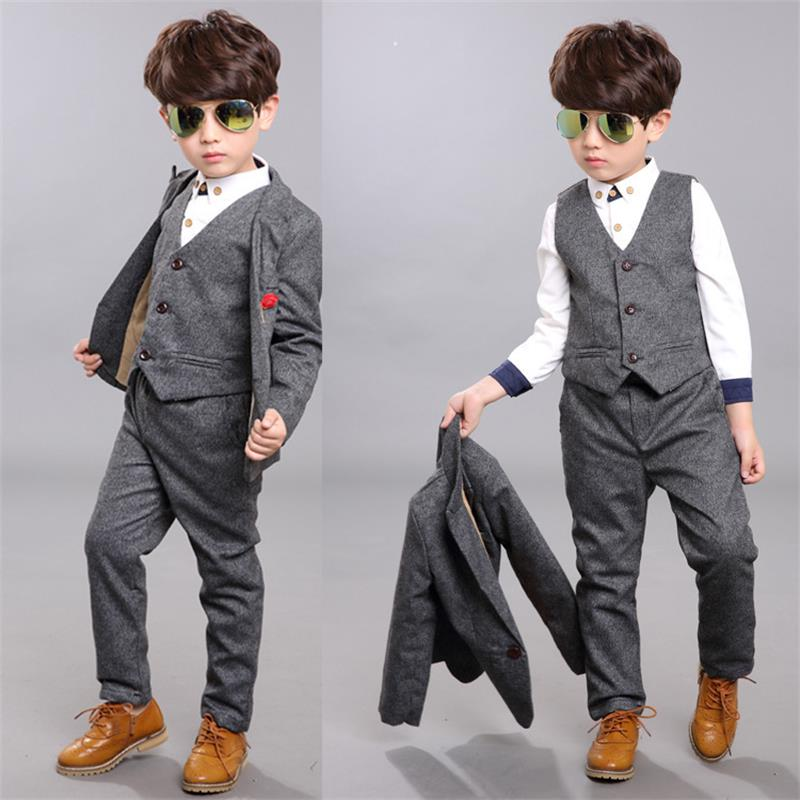 Boys suits for weddings Kids Prom Suits Black Wedding Suits Kids tuexdo Big Children Clothing Set Boy Formal Classic Costume