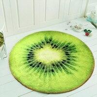 בדי פלנל רך קיווי/כתום פירות דפוס גיאומטריה משולש חדר שינה סלון שטיח עגול שטיח כיסא מחשב שטיח