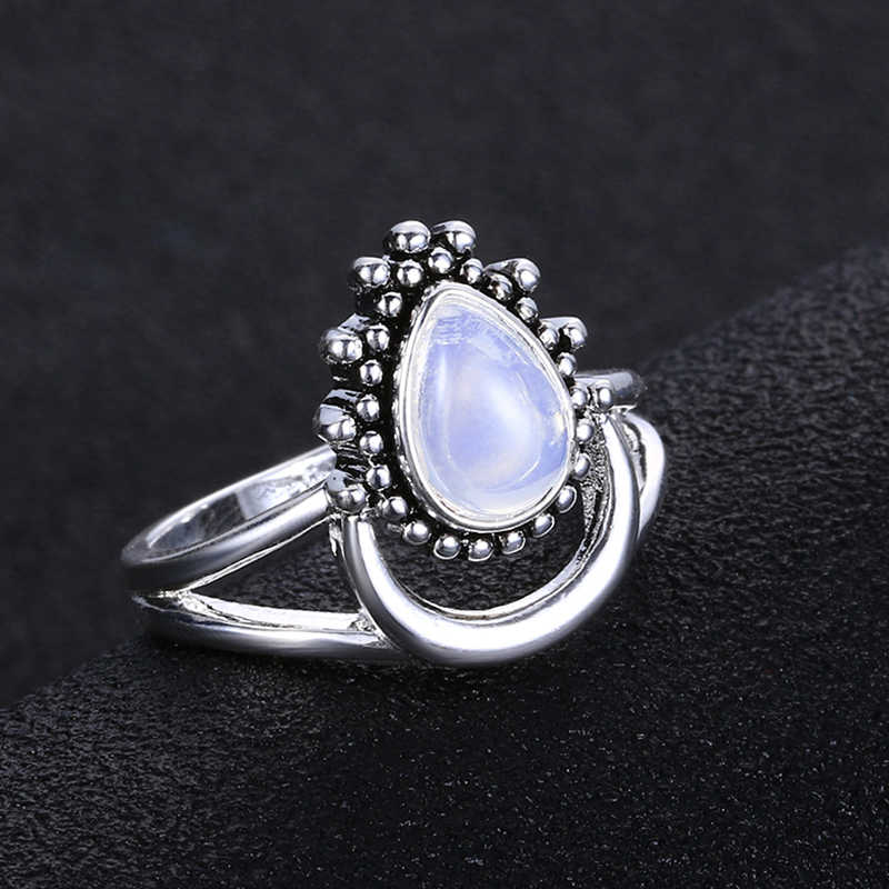 Aunimeifly Womens Vintage Personalized Bohemian Moonstone Sliver Ring Marquise Jewelry