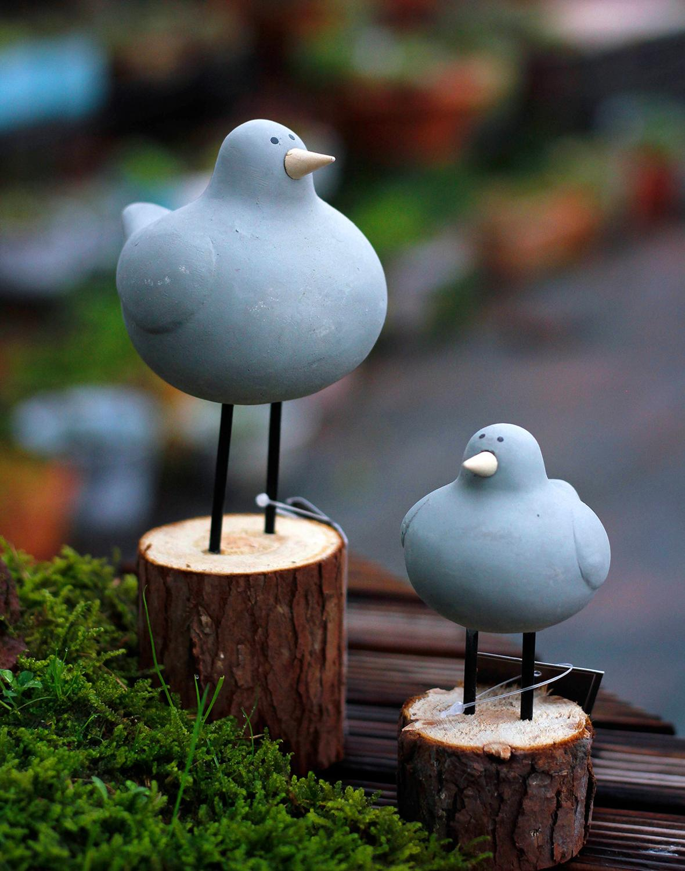 Garden Statue 2 Pcs/Set Resin Grey Chubby Bird Sculpture Nordic Style Garden Decoration Outdoor