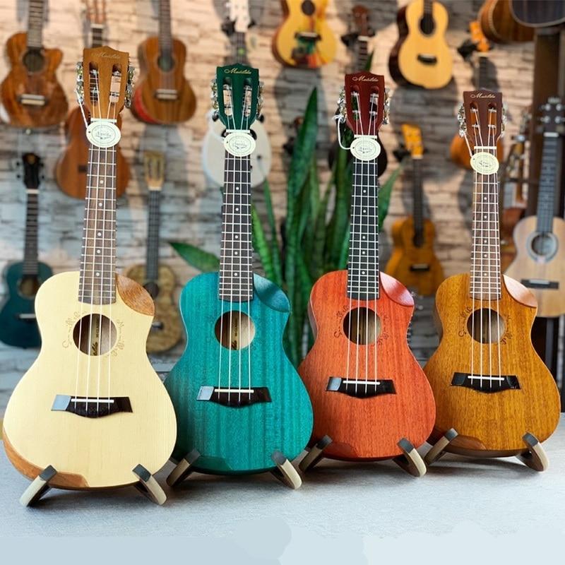 Ukulélé 23 pouces tout acajou Mini Electri Concert guitares acoustiques 4 cordes Ukelele Install pick-up guitare de voyage épicéa