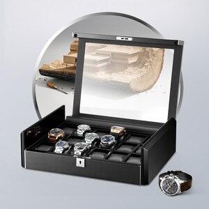 Image 4 - תיבת יוקרה שחור פחמן סיבי משטח רך גמיש שעון כריות עץ מתנת תיבת שעון