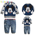 Spring Autumn Toddler Boys Clothes Baby Outfits Cartoon Mouse Tops+Jeans Two-Piece Brands Children Suits Clothing 0-5Year BC1284