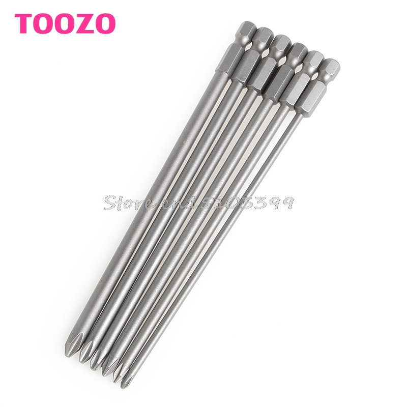 6Pcs/Set 1/4'' Shank 150mm Long S2 Steel Magnetic Hex Cross Head Screwdriver Bit #G205M# Best Quality 150mm long steel magnetic 1 4 torx hex security electric screwdriver bit set for magnetic screwdriver bit tool set