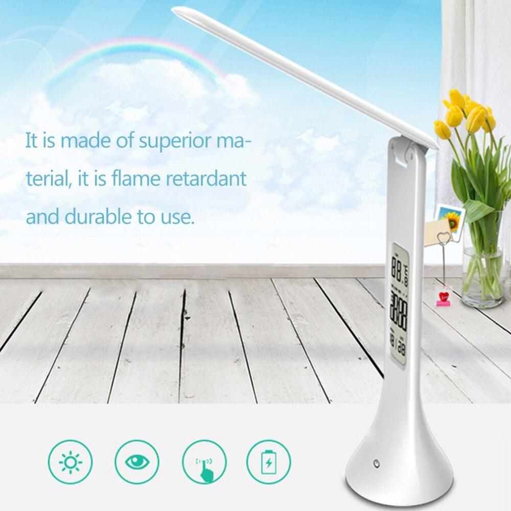 ICOCO складной Touch настольная лампа 3 уровня диммер глаз-Care светодиодный свет Портативный настольные лампы Чтение с цифровой календарь для изу...