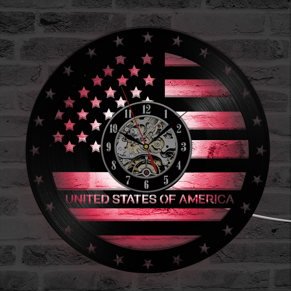 Hollow Usa Flag Vinyl Record Clock Creative Independence Day Led