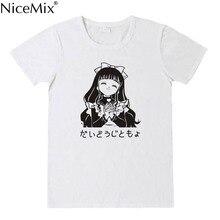 NiceMix Harajuku Japanese Women Cartoon T Shirts Unique Graphic Short Sleeves T-Shirt Pink Tees Kawaii Cute Cotton Shirt New