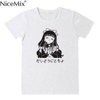 NiceMix Harajuku Japanese Women Cartoon T Shirts Unique Graphic Short Sleeves T Shirt Pink Tees Kawaii Cute Cotton Shirt New