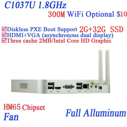 Celeron 1037U Dual 1.8ghz Full Aluminum Living Room HTPC Mini Pc With USB *4 HDMI VGA RJ45 2G RAM 32G SSD