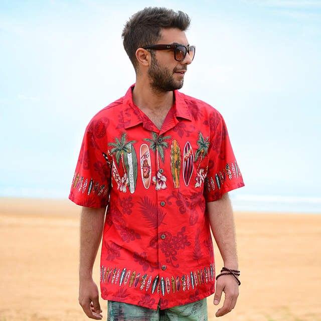 543d0ddf4d9 placeholder Men s Hawaiian Shirt Brand Beach Shirt Palm Surfboard Fancy  Dress Shirts For Men Cotton Plus Size